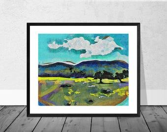 Landscape Art Print, Andalucia Art Print, Two Trees, Andalucia, Spanish Art, Landscape Art, Home Decor, Wallart, Giclee Print, Colourful Art