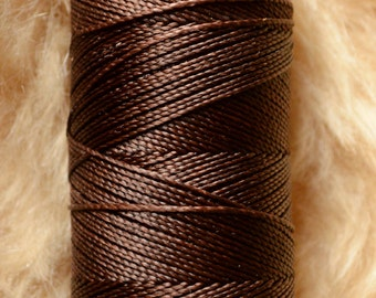 Warm chocolate brown whole spool. Waxed polyester thread spool. Linhasita. Art supply. 172 m / 188 yds, 1 mm thick (452)