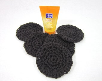 Cotton Facial Cloths, Reusable Make Up Removers, Beauty Cloths, Dark Charcoal Gray Facial Scrubbies All Cotton Face Scrubbies by Charlene