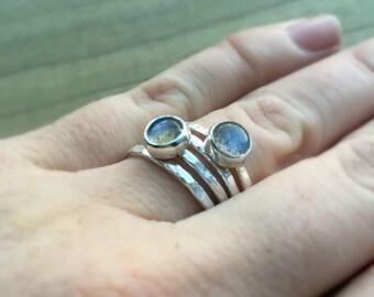 Labradorite Silver Stacking Ring Set, Stacking Rings, Labradorite Ring, Silver Ring, Sterling Silver Ring, Women's Ring, Semiprecious Ring