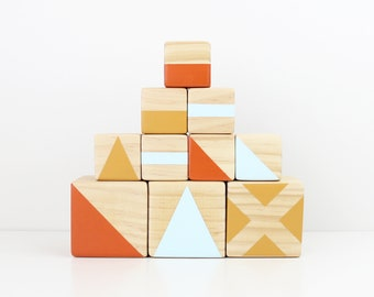 Wooden stacking blocks - orange, blue + mustard