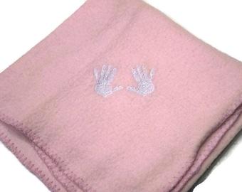SALE 66% off Pink Hand Prints Baby Blanket Lightweight Fleece Embroidery