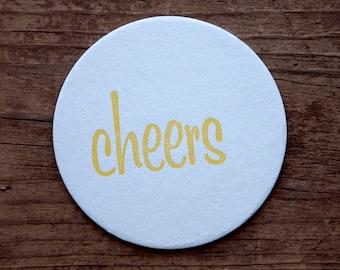 Cheers Letterpress Coasters - Set of Ten