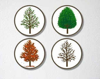 Counted Cross stitch Pattern Collection PDF. Instant download. Tree of All Seasons. Includes easy beginner instructions.