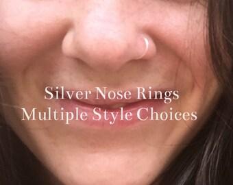Silver Nose Ring 20G 22G 24G 6mm 9mm 11mm 13mm Silver Nose Hoop Ring