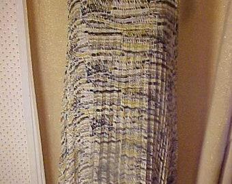 Vintage Print Sheer Pleated Dress, Brown Print Has Lining 3384