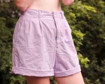 Vintage Lilac Linen Shorts