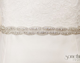 MADELINE II BELT - Beaded Rhinestone Bridal Wedding Sash