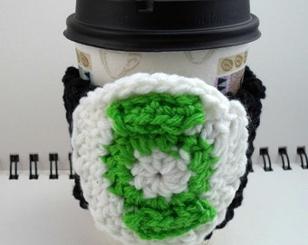 SALE - Black Crocheted Coffee Cozy with White and Lime Green Circular Pocket (SWG-A09)