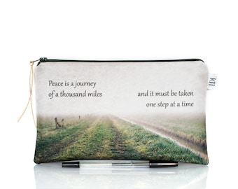 Photo pencil case, Quote zipper pouch, Life quote, Inspirational, Spiritual, Make Up bag, Teacher gift, Back to school, Cosmetic bag, Canvas