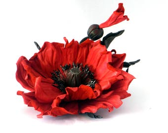 Red poppy flower, Red Poppy Brooch, leather poppy Brooch, Red Poppy Pin, Felt Flower Brooch, Floral jewelry, Natural jewelry, Poppy blossom