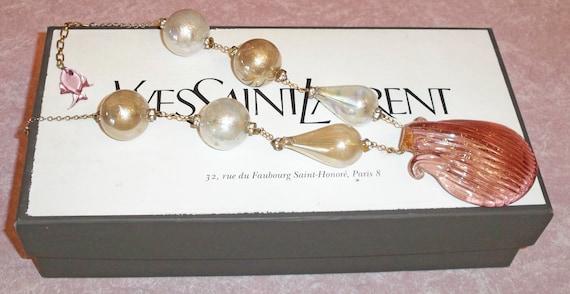 Very Vintage  YSL Yves Saint Laurent Necklace hand blown bubble glass