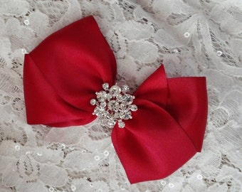 Dark Red Satin Hair Bow with Rhinestone Center, Apple Red Flower Girl Hair Bow, Hair Bow, Christmas Bow