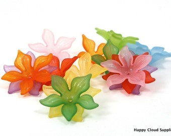 Big Acrylic Tropical Flower Beads - 20 pcs - Pick your colors