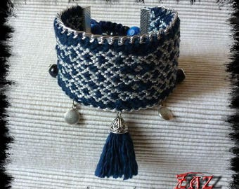 Friendship Bracelet cuff Navy and silver