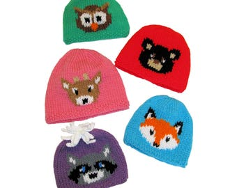 Knit Pattern Download - Forest Friends Hats - Kids All Ages