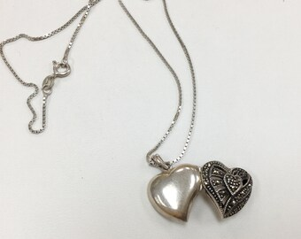 Vintage .925 Sterling Silver Marcasite Heart Locket Pendant.  Free US Shipping!!!