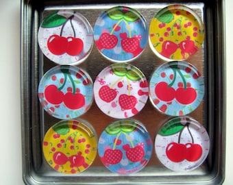 Cherries Fridge Magnets, Cherries Refrigerator Magnets, Cherries Decor, Cherries Decorations, Cherries Magnet Set of Nine with Storage Tin