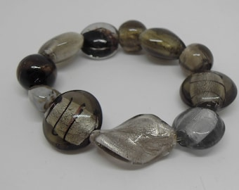 Silver/Grey Murano Glass Beaded Bracelet