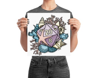 Mermaid D20 Poster - Assorted Sizes - D&D Tabletop Gaming