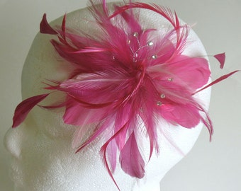 Pink feather wedding hair clip - bridesmaids feather fascinator