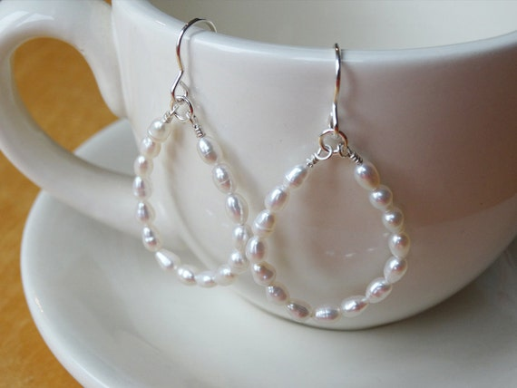 Silver & Pearl Hoop Earrings - Sterling Silver