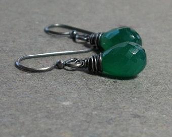 Green Onyx Earrings Wire Wrapped Briolettes Oxidized Sterling Silver Minimalist Petite Earrings