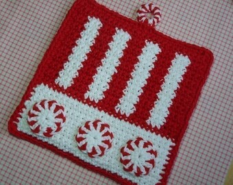 Peppermint Candy Potholder Crochet PATTERN - INSTANT DOWNLOAD