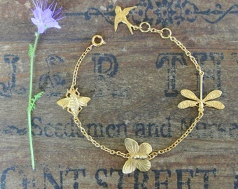 Gold Butterfly, Bee and Dragonfly Bracelet, charm bracelet, butterfly bracelet, dragonfly bracelet, bee bracelet, gold charm bracelet