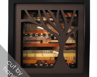 rustic brown tree shadowbox- on the right- made from recycled magazines, handcut, colorful, brown, nature, natural