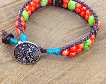 Orange, Green, & Turquoise Ladder Bracelet