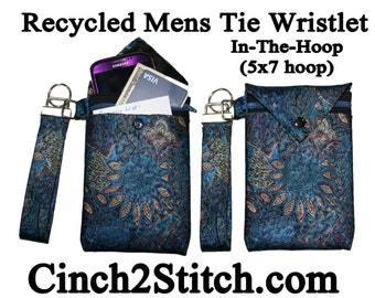"Recycled Mens Tie Cell Phone Wallet / Wristlet - In The Hoop - Machine Embroidery Design Download (5"" x 7"" Hoop)"