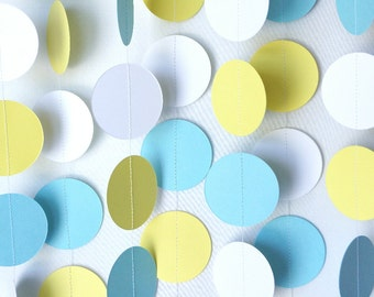Blue, Yellow and White Paper Garland, Baby Shower Decoration, Nursery Decor, Baby Boy 1st Birthday Party Decoration, 10 ft. long