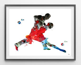 Tango Dancers Watercolor Print couple dancing tango giclee print, Tangueros Illustration Tango lovers gift, wall art poster [N150]