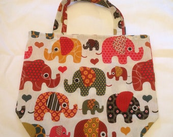 Elephant / Beach Hut/ Cat and Floral Shopping Bag