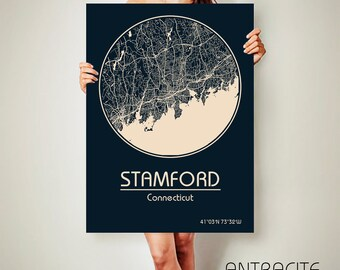 STAMFORD Connecticut CANVAS Map Stamford Connecticut Poster City Map Stamford Connecticut Art Print Stamford Connecticut