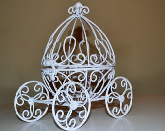 White Miniature Cinderella Carriage, Fairytale Wedding Cake Topper, Small Cinderella Carriage