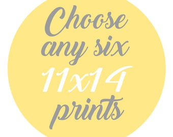 SALE - Mix and Match - Create Your Own Set - Choose Any Six 11x14 Inch Prints for 95 Dollars - You Choose The Prints and Colors
