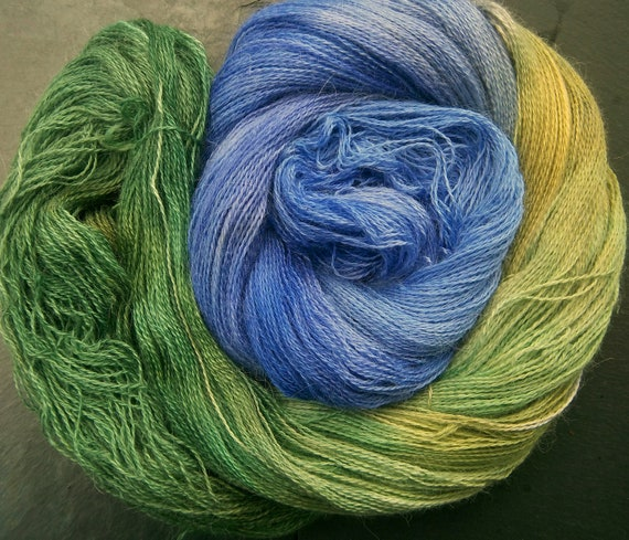 Alpaca Silk Lace 2ply Yarn Elvincraft Hand Painted Woodland Bluebells