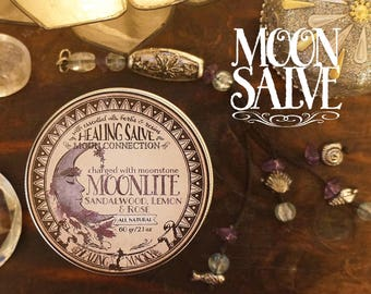 Moon Connection Balm *Moonlite* With Essential Oils, herbs and crystals - Lemon, Sandalwood, Rose & Moonstone (60gr - 2.1oz)