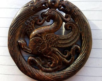 Antiqued Coffee Jade Pendant Carved Phoenix Chinese Amulet Brown Jade Talisman
