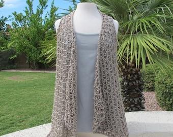 Solomon's Knot Drape Front Vest Pattern - Crocheted Drape Front Vest - PDF Crochet Pattern