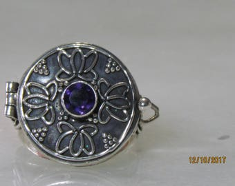 Vintage Sterling Silver and Amethyst locket Ring Size 8.25