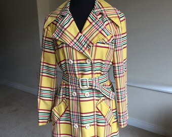 Yellow Plaid Trench Coat Belted 1970