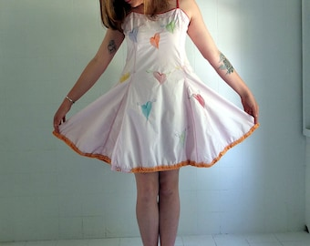 Winged Hearts Embroidery - Marshmellow Pink Dress - Designer Slip  Dress -  made by kathrin kneidl for resplendent rags