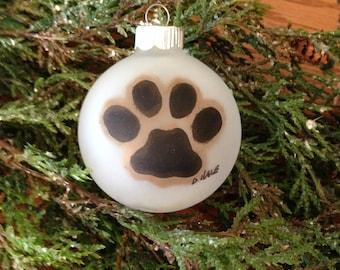 Glass Paw Print Ornament