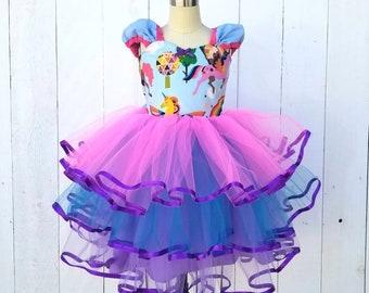 UNICORN dress girls, UNICORN birthday, Unicorn party, rainbows, girls tulle dress, unicorn headband, unicorn costume, toddler dress handmade