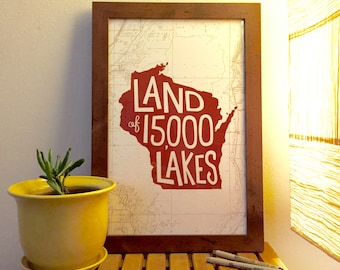 "Land of 15,000 Lakes Print (11x17"") 