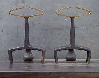 Mid-Century Andirons Vintage 1960s Brass Cast Iron