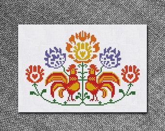 Cross Stitch Pattern Retro Flowers and Rooster Instant Download PDF Counted Chart